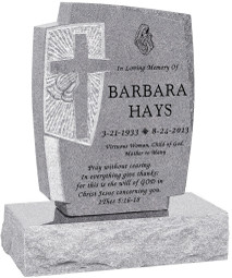 "Carved Cross and Praying Hands Headstone with 24"" Base - Polished All Sides - 10 Color Choices - Starting at $1634"