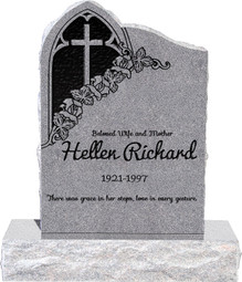 "Gothic Headstone with 34"" Base - Polished Front and Back - 10 Color  Choices - Starting at $1919"