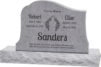 "Solitude Headstone with 48"" Base - Polished All Sides - 10 Color Choices - Starting at $2204"