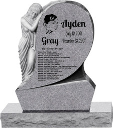 "Saint Mary Upright Headstone with 34"" Base - Polished All Sides - 10 Color Choices - Starting at $3499"