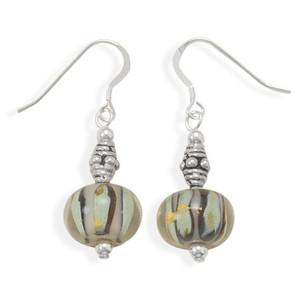 Green & Black Glass Bead Earrings