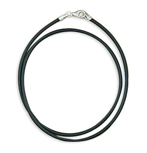 "Black Rubber Necklace -16""  2mm"