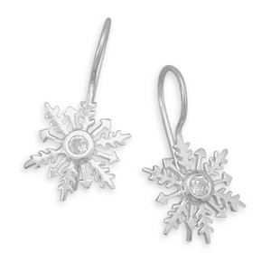 CZ Snowflake Earrings
