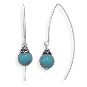 Bead On A Wire Long Earrings - Turquoise