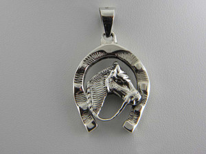 Large Horsehead in Horseshoe Pendant