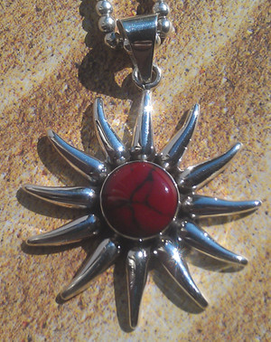 Aztec Sun Pendant - Red Jasper