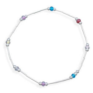 Liquid Silver Stretch Anklet w/ Colored Glass Beads