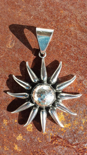 Aztec Sun Pendant - Hammered Sterling