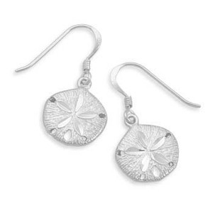 Diamond Cut Sand Dollar French Wire Earrings