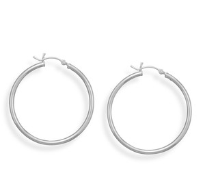 2mm x 35mm Hoop Earrings with Click
