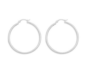 2mm x 40mm Hoop Earrings with Click