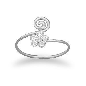 Crystal Flower & Swirl Toe Ring