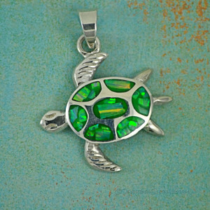 Large Opal Sea Turtle Pendant