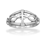 Ichthys & Cross Design Oxidized Ring