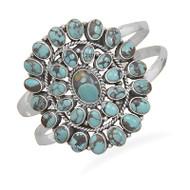 Oxidized Oval Turquoise Cuff Bracelet