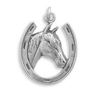 Horse in Horseshoe Charm