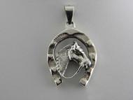 Large Horsehead in Horseshoe Pendant