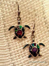 Opal Sea Turtle Earrings (Multiple Colors)