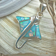 Manta Ray Pendant in Light Blue Opal