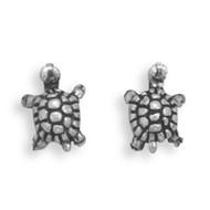 Oxidized Turtle Stud Earrings
