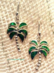 Opal Palm Tree Earrings in Green Opal