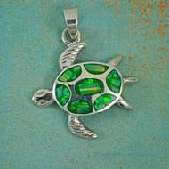 Large Opal Sea Turtle Pendant