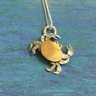 Tiny Crab Necklace in Copper & Silver