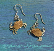 Tiny Crab French Wire Earrings in Copper & Silver