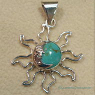 Sun & Moon Pendant in Light Turquoise