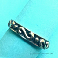Scroll & Dot Oxidized Toe Ring