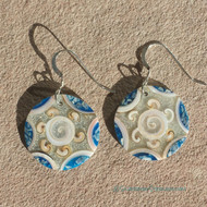 Summer Swirl Shell Earrings in Round Light Blue