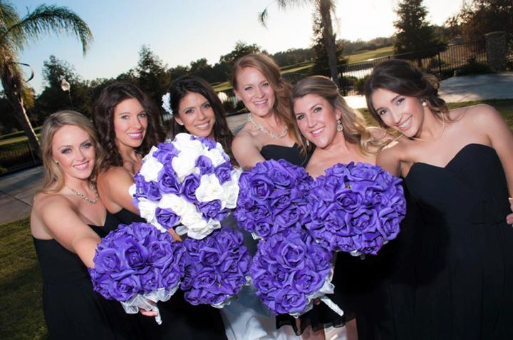 Purple and Ivory Silk Rose Hand Tie (36 Roses) - Artificial Silk Bridal Wedding Bouquet