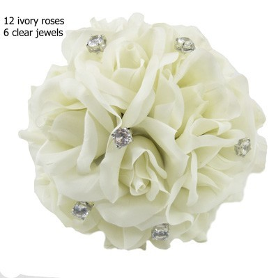 Ivory Silk Rose Toss Bouquet -1 Dozen Silk Roses - Bridal Wedding Bouquet