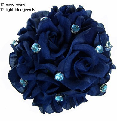 Navy Blue Silk Rose Toss Bouquet -1 Dozen Silk Roses - Bridal Wedding Bouquet