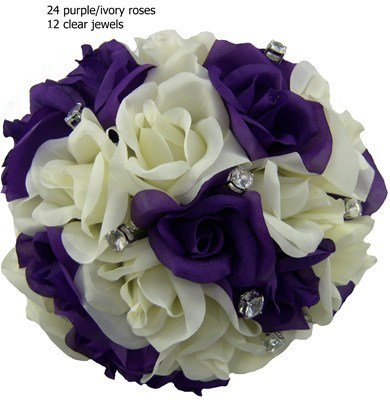 Purple and Ivory Silk Rose Hand Tie (2 Dozen Roses) - Bridal Wedding Bouquet