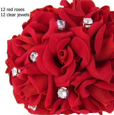 Red Silk Rose Toss Bouquet -1 Dozen Silk Roses - Bridal Wedding Bouquet