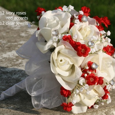 Sweet Red Silk Rose Hand Tie (1 Dozen Roses) - Bridal Wedding Bouquet