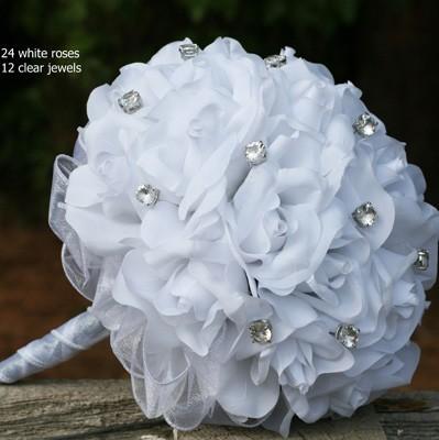 White Silk Rose Hand Tie (2 Dozen Roses) - Bridal Wedding Bouquet