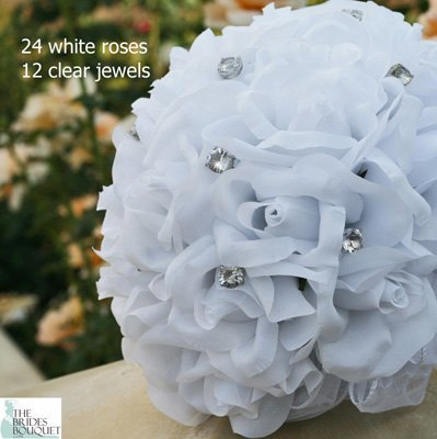 White Silk Rose Hand Tie (2 Dozen Roses) - Bridal Wedding Bouquet