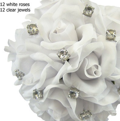 White Silk Rose Toss Bouquet -1 Dozen Silk Roses - Bridal Wedding Bouquet