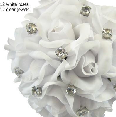 White Silk Rose Toss Bouquet -1 Dozen Silk Roses - Bridal Wedding Bouquet