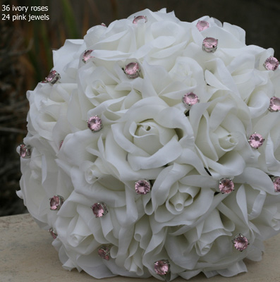 Ivory Silk Rose Hand Tie (3 Dozen Roses) - Bridal Wedding Bouquet