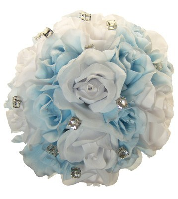 Light Blue and White Silk Rose Hand Tie (2 Dozen Roses) - Bridal Wedding Bouquet