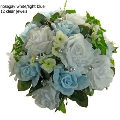 Light Blue and White Silk Rose Nosegay - Bridal Wedding Bouquet