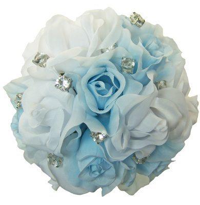 Light Blue and White Silk Rose Toss Bouquet - Bridal Wedding Bouquet