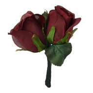 Burgundy Silk Rose Double Boutonniere - Groom Boutonniere Prom