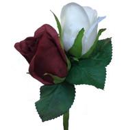 Burgundy & Ivory Mens Silk Rose Boutonniere - Groom Groomsmen Prom