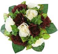 Burgundy and Ivory Silk Rose Nosegay - Bridal Wedding Bouquet