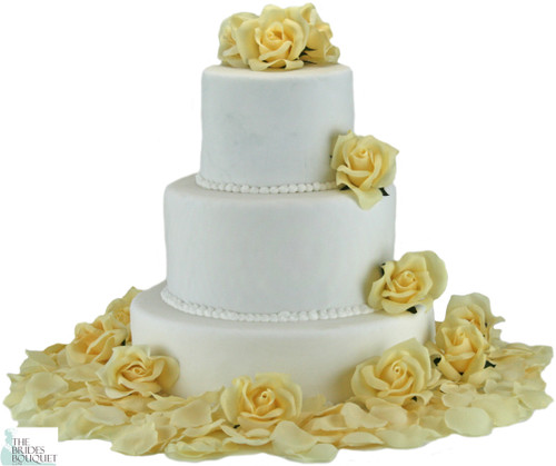 Butter Yellow Silk Rose Cake Flowers