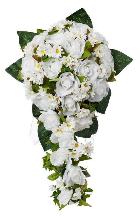 White Rose and Dasies Silk Flower Cascade